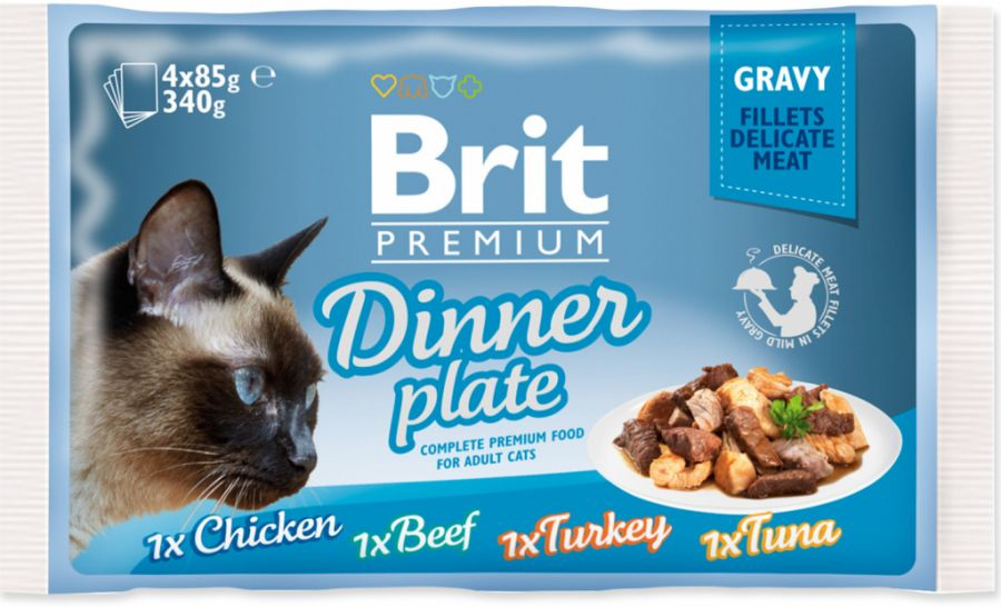 Brit Premium Cat Delicate Fillets in Gravy Dinner Plate 340g (4x85g)