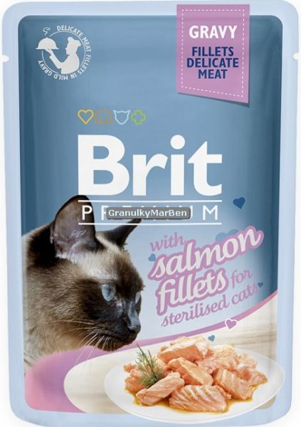 Brit Premium Cat Delicate Fillets in Gravy with Salmon for Sterilised 85g