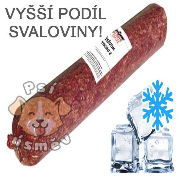 Hovězí maso s droby Premium s mrkví salám 6x 500g