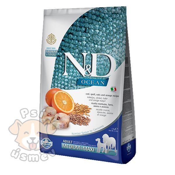 N&D OCEAN DOG LG Adult M/L Codfish & Orange 12kg