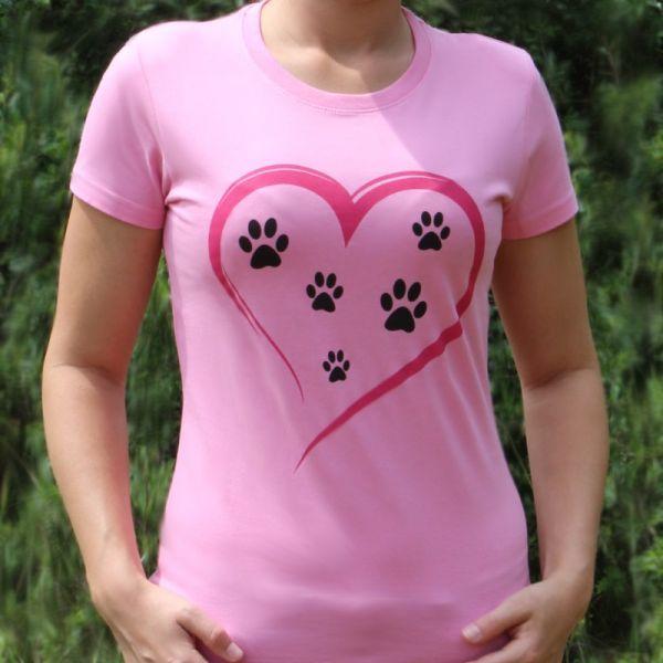 Srdce & psí tlapky - dámské tričko se psy